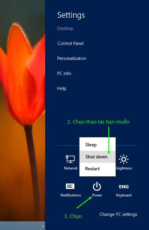 Windows 8 - Làm thế nào để tắt máy