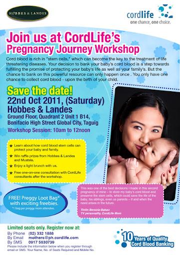 Cordlife Journey to Pregnancy Workshop, events, motherhood