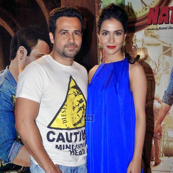 Emraan Hashmi and Humaima Malik pose together during the press meet of Bollywood movie Raja Natwarlal, held at UTV Office on July 24, 2014.(Pic: Viral Bhayani)
