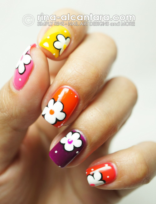 Deborah Lippmann Run the World (Girls) and Some Flowers Nail Art Design