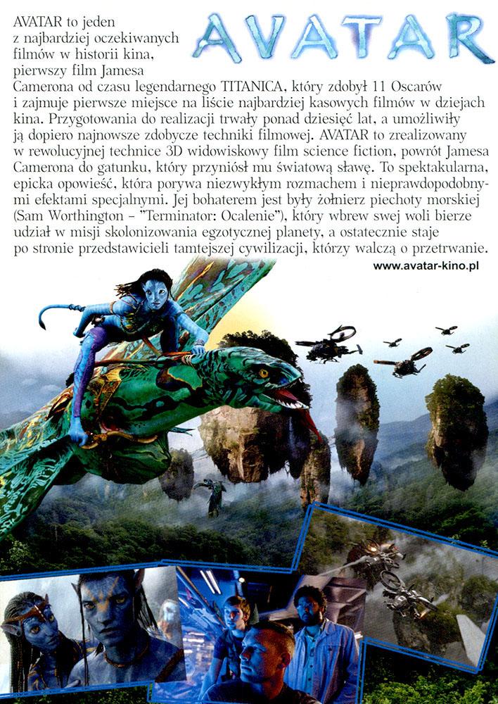 Ulotka filmu 'Avatar (tył - wersja B)'