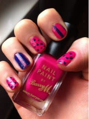 Barry M Shocking Pink spot/stripe nail polish varnish