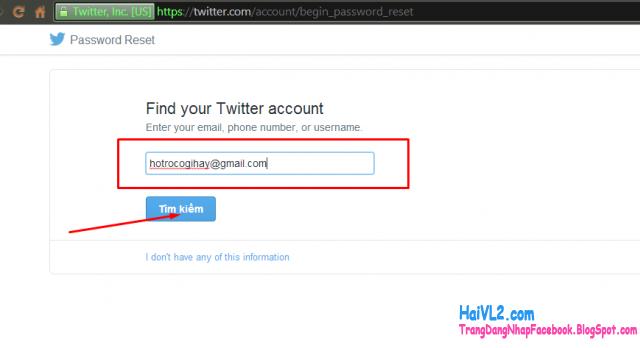 lấy lại mật khẩu twitter