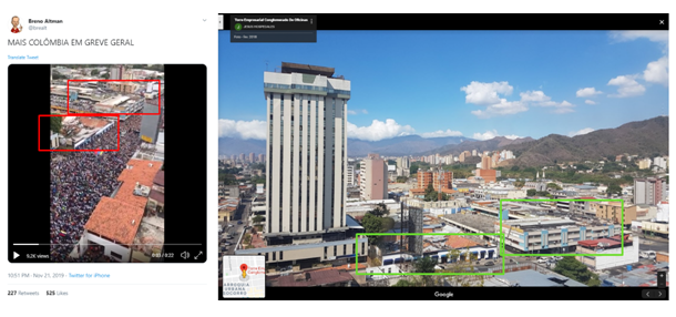 Comparaison des images de la vidéo virale et une capture d'écran de l'avenue Cedeno sur Google Maps.