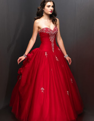 red winter strapless ball gown wedding dresses