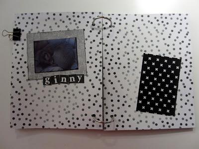 Minialbumin aloitettu sisäsivu Ginnysta
