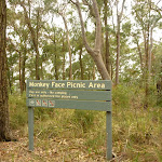Sign showing Monkey Face Picnic Area near Monkey Face viewpoint in the Watagans (322874)