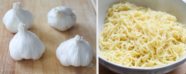 a process photo collage showing raw garlic bulbs and cooked noodles