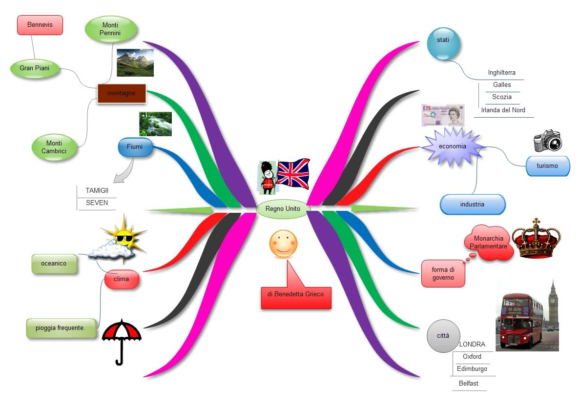 Molto Tutti a bordo - dislessia: Mappa mentale: Regno Unito HP51