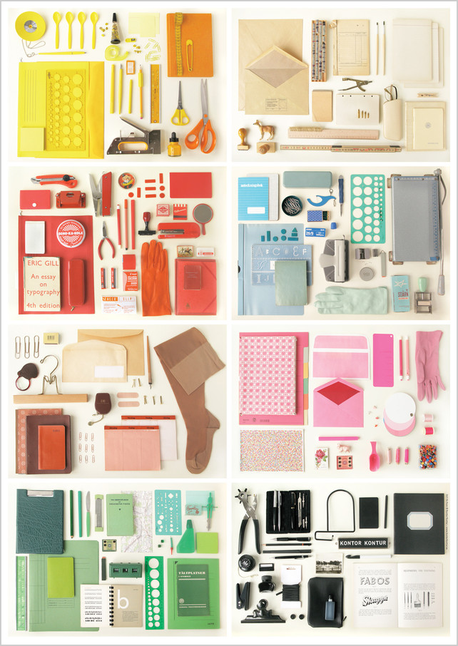 colorful office supplies into found art.