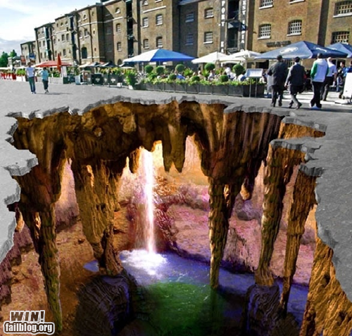 photo of amazing chalk art