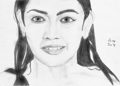 Kajal Pencil Drawing Finished Pencil Sketch k a