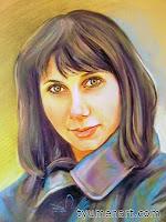 Портрет цветной, выполнен пастелью по тонированной бумаге, размер 30Х40 см