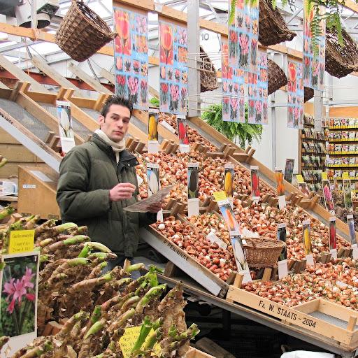 Vendedor de tulipanes en un mercado de Amsterdam, Holanda