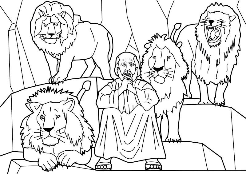 Daniel and the lions coloring pages
