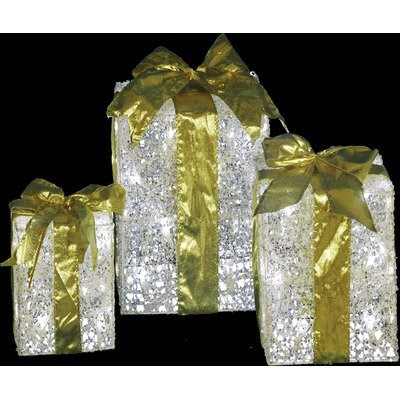 LED Lighted Gift Boxes with Gold Bows ( Set of 3 )