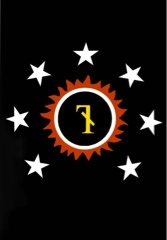 [T5 ATU] Banner of the Permatic Imperium. A starburst surrounded by seven stars on a black field.