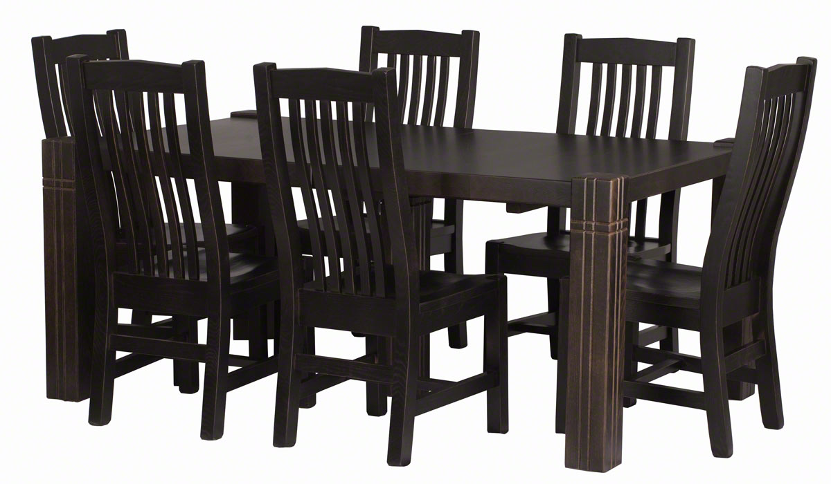 70 X 42 Phoenix Table And Chairs In Blackwash Oak