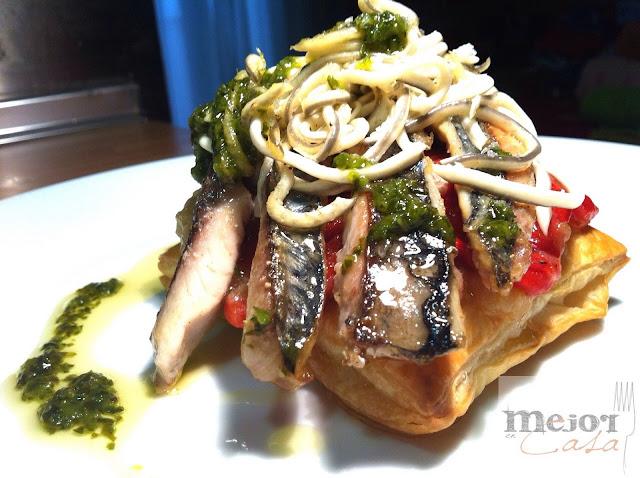 Tosta de caballa con escalivada y gulas restaurante a domicilio Mejor en casa