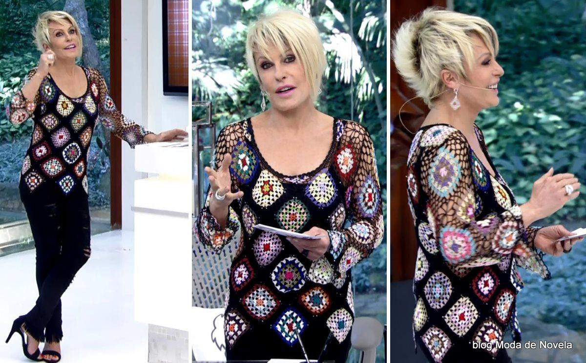 moda do programa Mais Você - look da Ana Maria Braga com blusa de crochê dia 4 de agosto