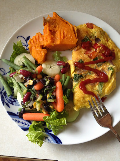 Gluten free omelet, sweet potato, salad