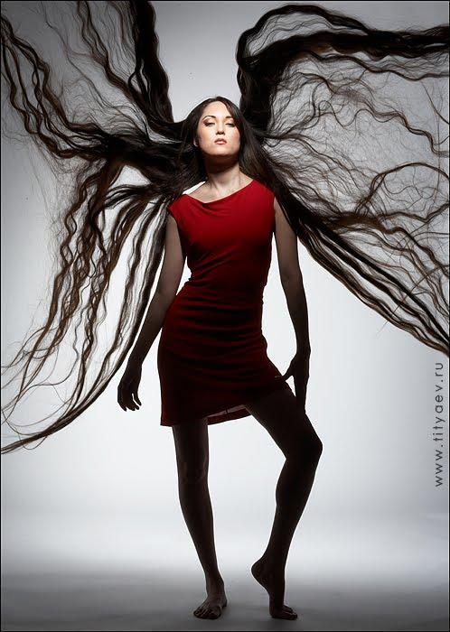 woman super long hair girl photo model with longest hair
