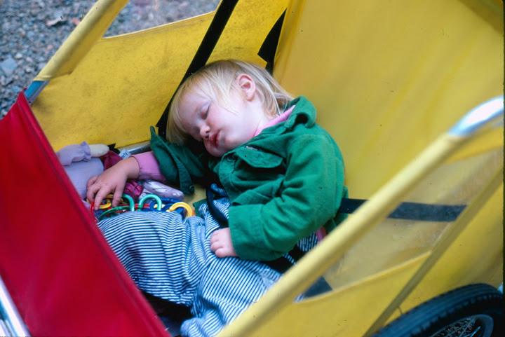 Baby Chelsea naps in her Burley trailer