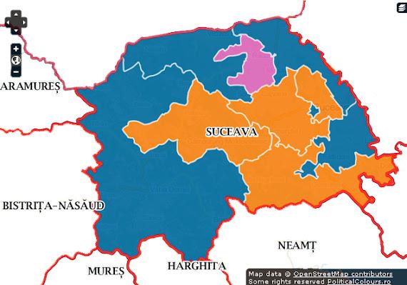 Hartă rezultate alegeri parlamentare în judeţul Suceava în decembrie 2012 - Simulare Camera Deputaţilor