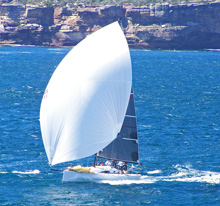 J/111 speedster- one-design sailboat- sailing off Sydney, Australia