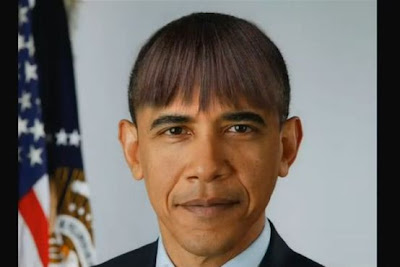 Barack Obama de franjinha como a esposa | Obama with Michelle's hairstyle look