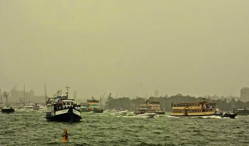 Australia Day Ferry Race. Celebrating Australia Day in Sydney Harbour