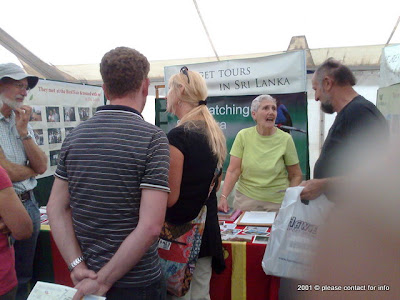 Betty talking to Visitors at the Walk With Jith stand at the British Bird Fair 2011