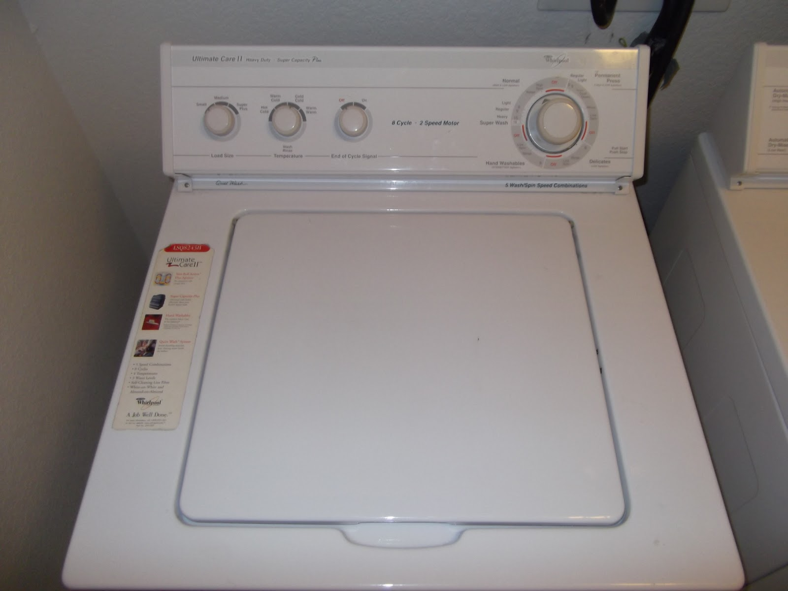 Washer Not Draining Or Spinning Omids Diy Web Log Whirlpool Washer Ultimate Care Ii Lsq8243h