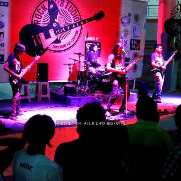 Members of Spikedhead perform at the weekend show of Rock Studio at R3 mall in Ahmedabad.
