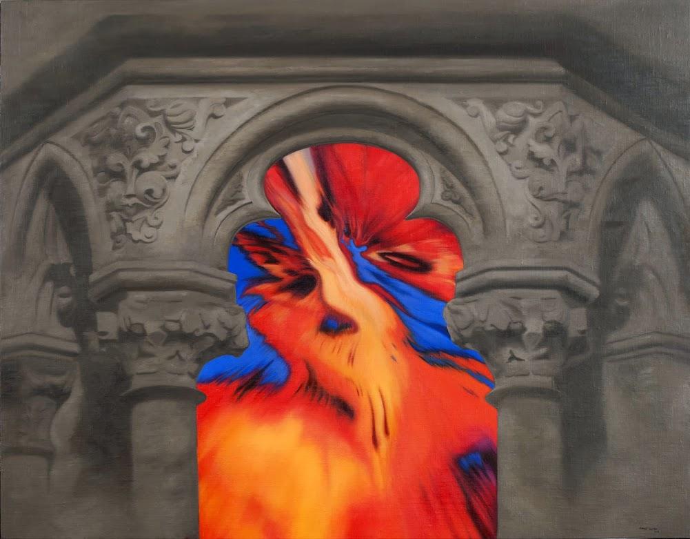 Interior en revolución,pintura en oleo de alvarez cebrian