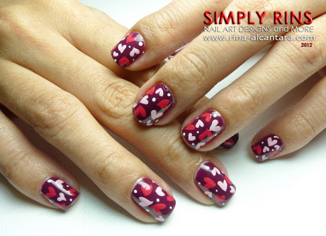 Cluttered Hearts Nail Art Design