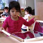 Preschool girl in private Montessori classroom in Irvine.