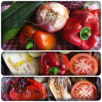Ingredientes para escalivada de verduras