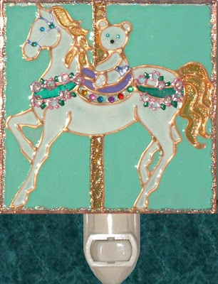 Aqua Teddy Bear Carousel Horse Nightlight