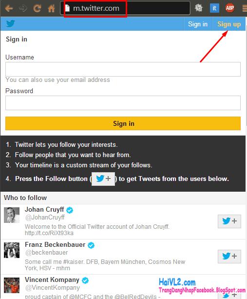 lập tài khoản twitter bước 2