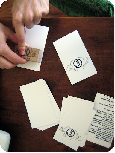 Hand-Stamping the Labels...