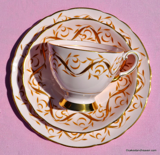 Tuscan pink fine bone china vintage teacup with gold