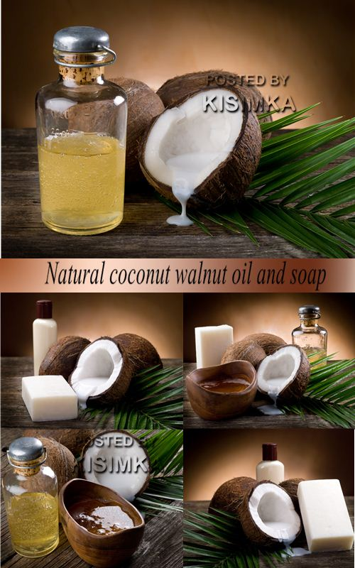 Stock Photo: Natural coconut walnut oil and soap