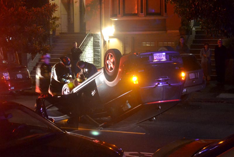Bizarre Overnight Accident Leaves Mini Cooper Flipped on