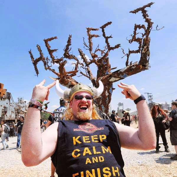 A heavy metal fan poses during the Hellfest Heavy Music Festival on June 20, 2014 in Clisson, western France.