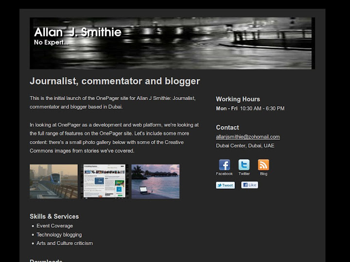 Smithie's example Onepager site