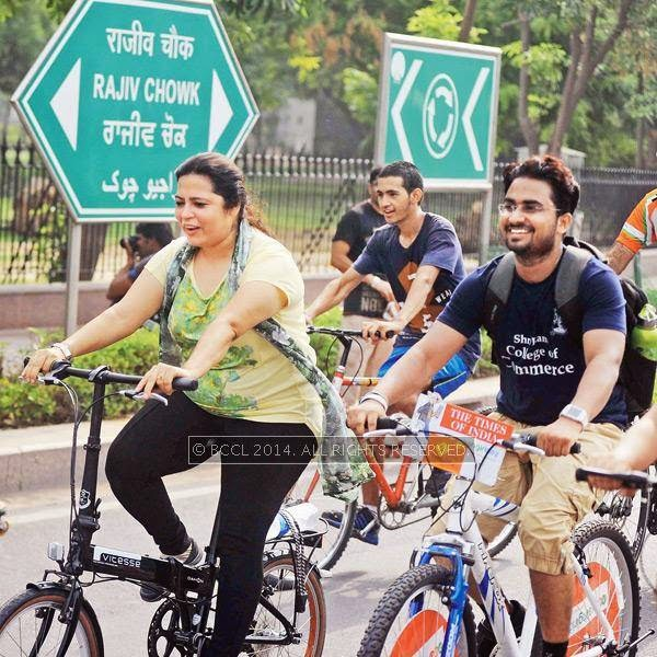Meenakshi Lekhi leading the cyclists during the Raahgiri Day, held at Connaught Place's Inner Circle, in New Delhi.