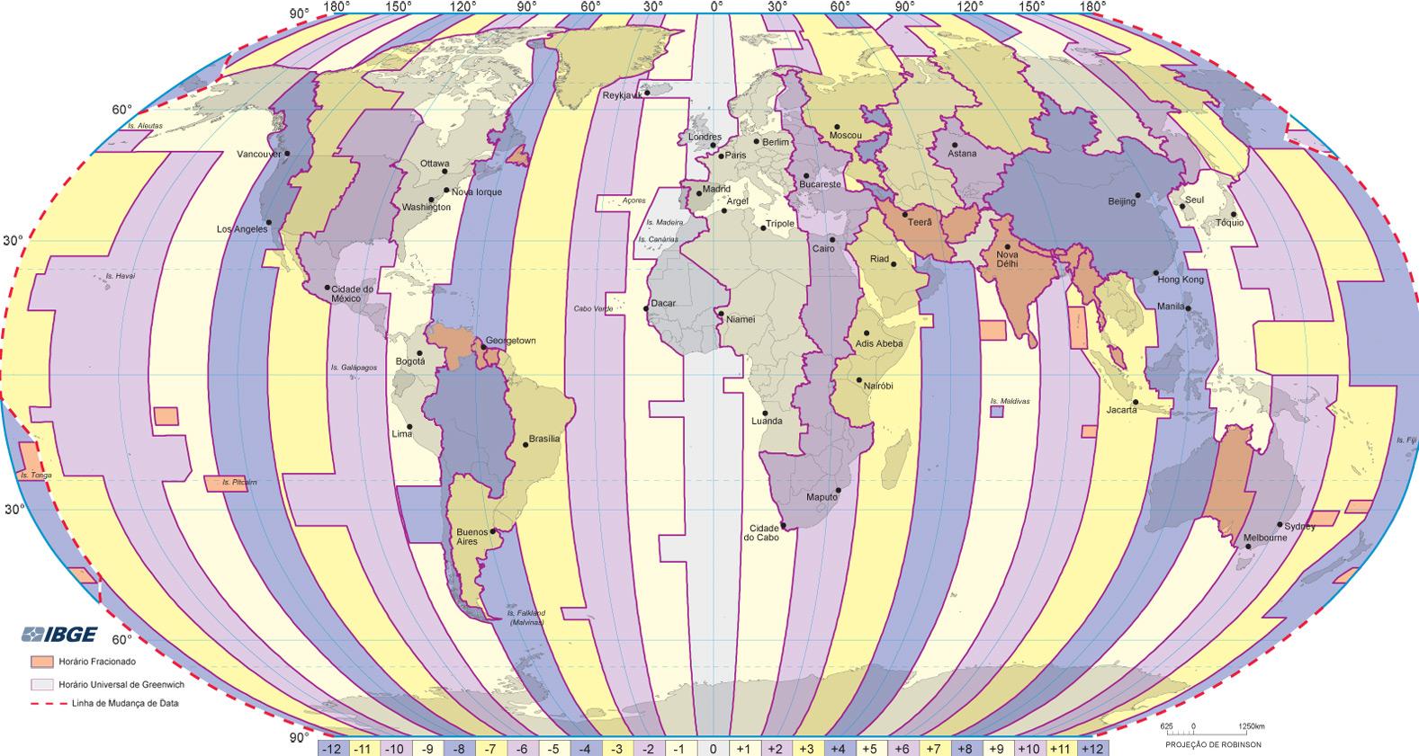 mapa mundi horario Mundo: Mapa Múndi   Fusos Horários mapa mundi horario