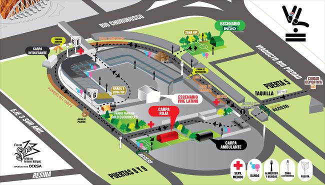 Para que no te pierdas en el vive latino la ruta del for Puerta 6 autodromo hermanos rodriguez ubicacion