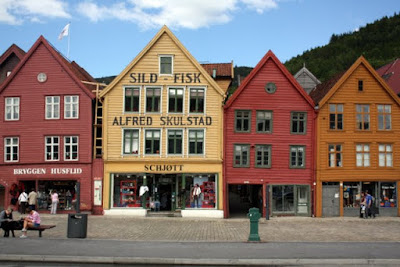 Historic Bryggen waterfront in Bergen Norway